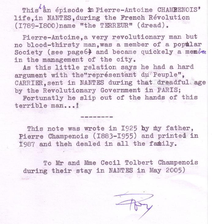 Note from Pierre Champenois to Cecil Champenois Jr. in May 1995